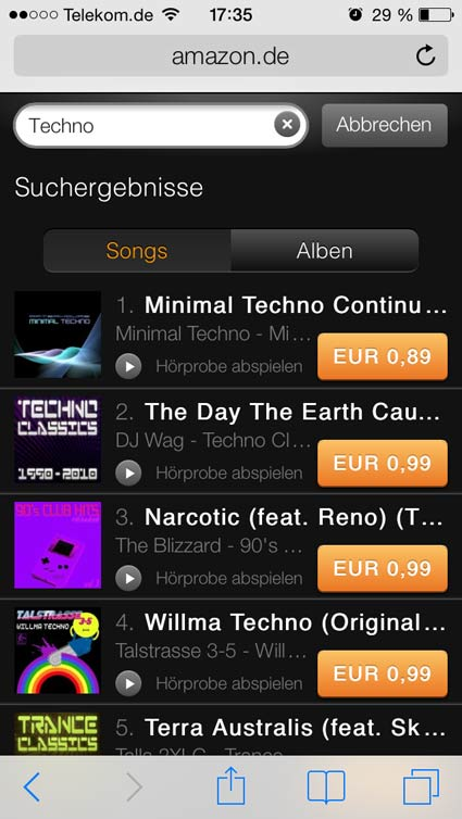 Amazon MP3 Suche