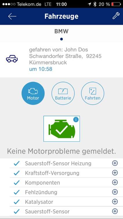 Fahrzeugdiagnose am iPhone
